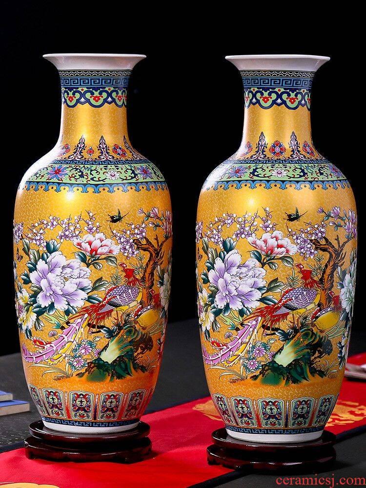 Jingdezhen ceramics landing large vases, flower arrangement in modern Chinese style living room home TV ark adornment furnishing articles