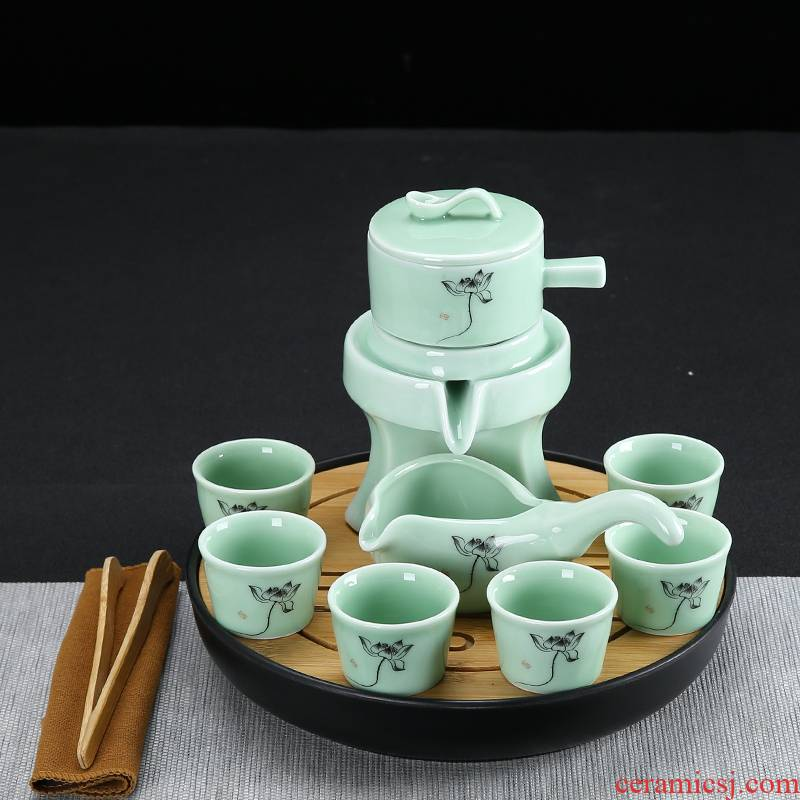 Celadon kung fu tea set automatically suit, black pottery home lazy fit the hot tea ware ceramic cups, tea tray