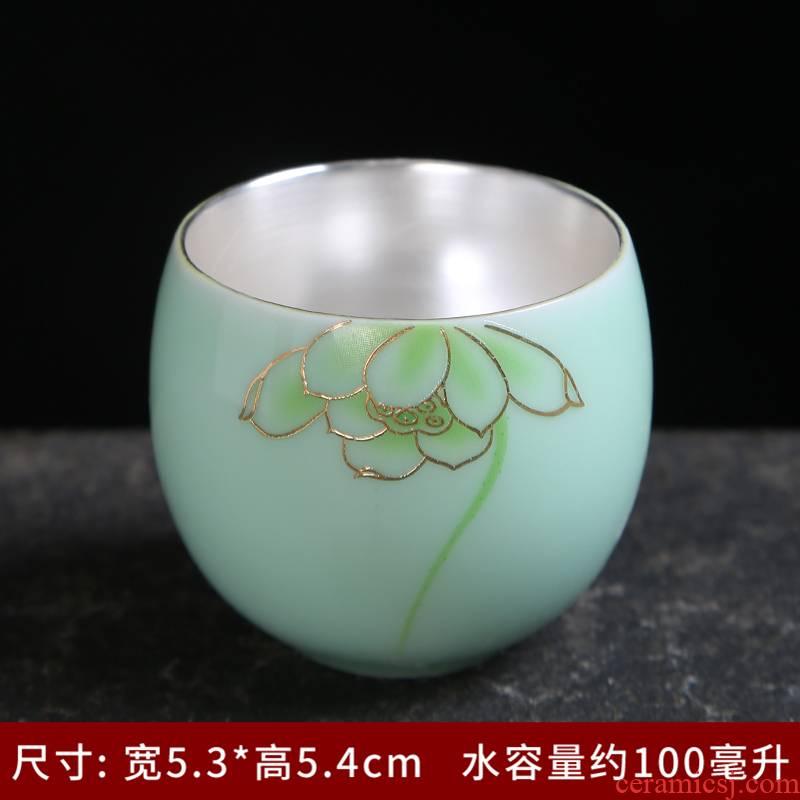 Longquan celadon kung fu single CPU household ceramics lotus tea set office contracted the teapot tea cups