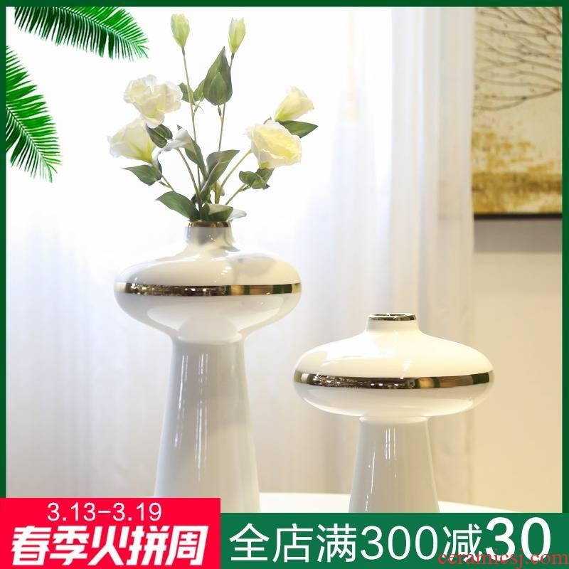 Jingdezhen ceramic light mesa of new Chinese style living room decoration to the hotel villa key-2 luxury furnishing articles flower vases, flower simulation