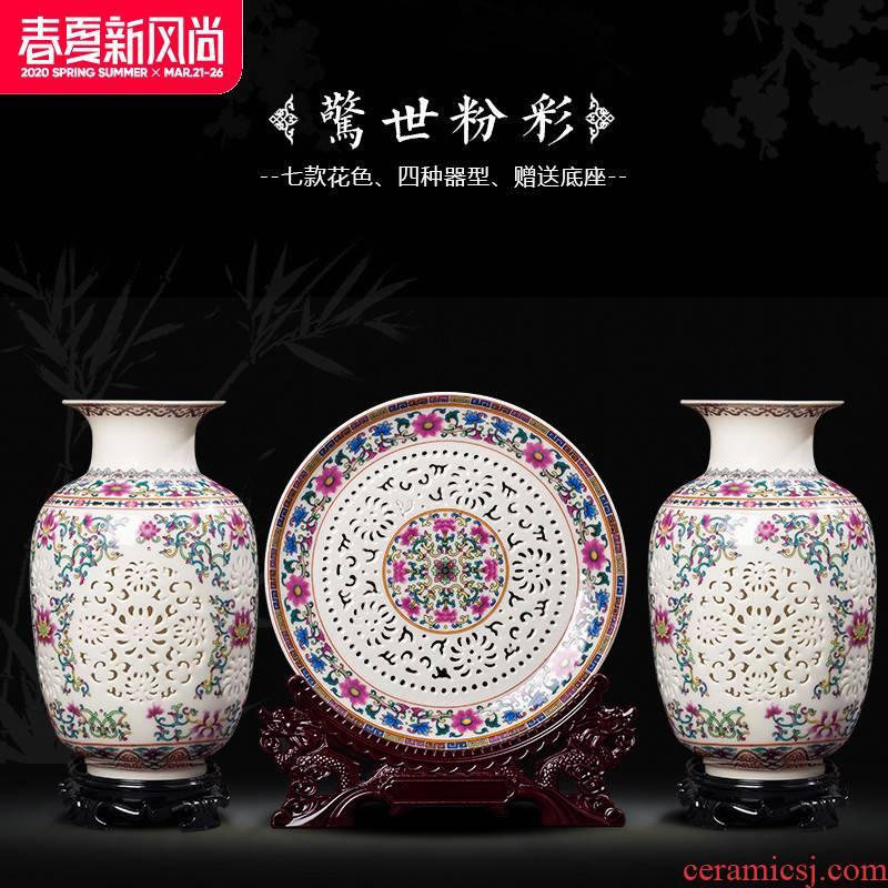 Creative ceramic vase three - piece porch ark cabinet office home sitting room adornment handicraft furnishing articles