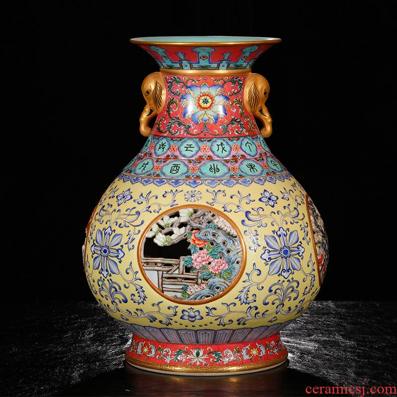 Yang Shiqi ceramic qianlong palace type and name pastel hollow - out medallion flowers lines like ears heart bottle