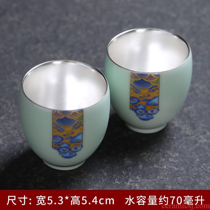 Longquan celadon teacup sample tea cup kung fu tea set suit household contracted and I single cup teapot ceramic tea tray