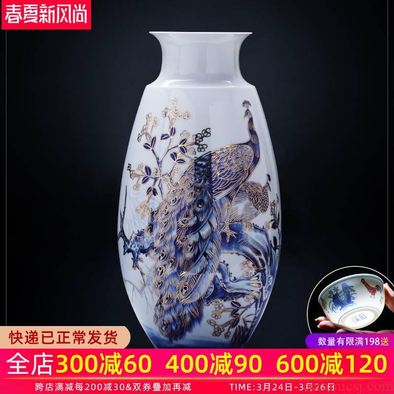Jingdezhen ceramics manual hand - made light see peacock landing large porcelain vase son Chinese key-2 luxury decoration