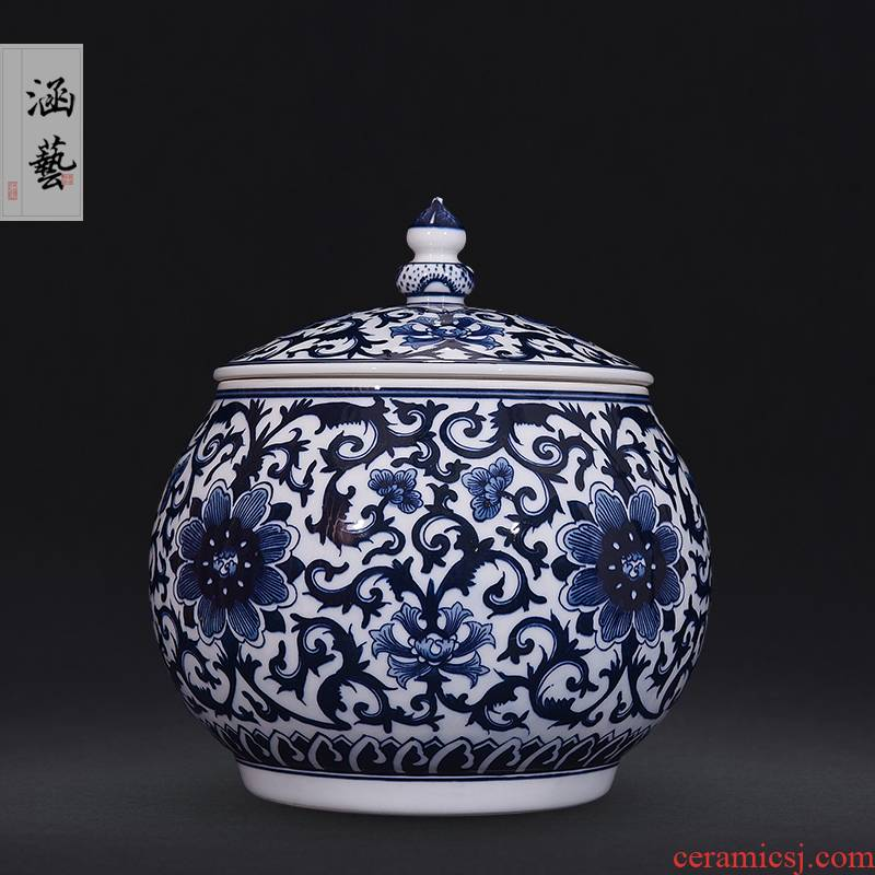 Jingdezhen blue and white flowers around branches ceramic hand - made caddy fixings new Chinese style household adornment furnishing articles of handicraft sitting room