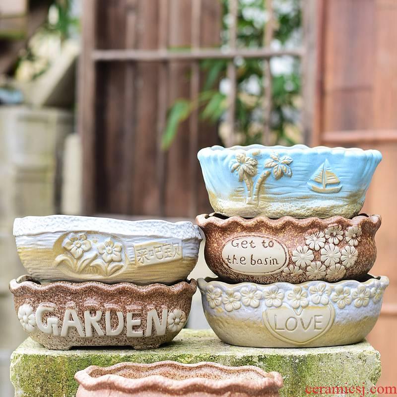 Fleshy flower POTS, large diameter platter basin of large composite ceramic clearance coarse TaoYang Fleshy pot creative breathe freely