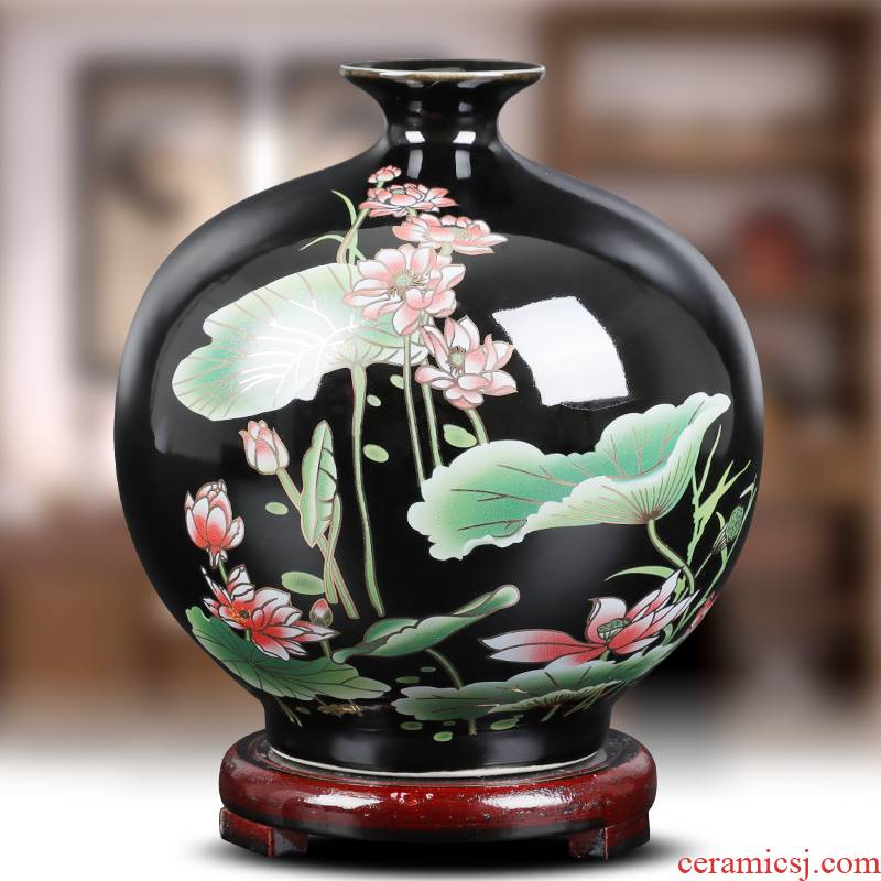 I and contracted lotus flower bottle of jingdezhen ceramics furnishing articles flower arranging home sitting room adornment handicraft