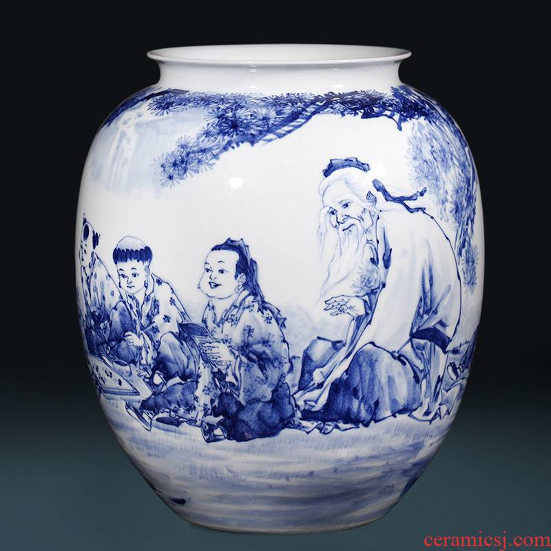 "Master of jingdezhen ceramics hand - made ""outnumbered"" blue and white porcelain vase in the living room home furnishing articles"