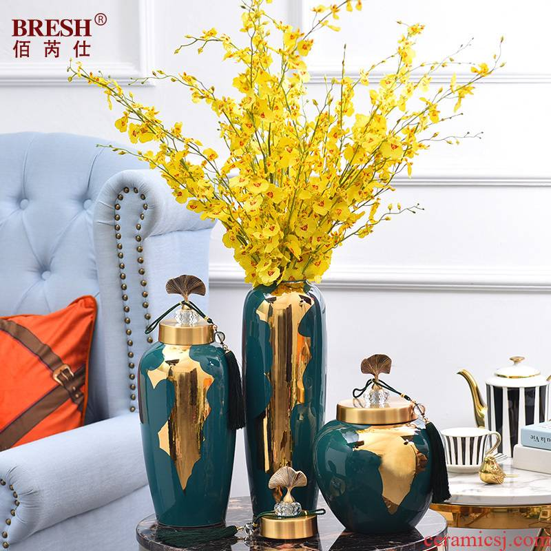 Contracted and I light key-2 luxury furnishing articles pure copper cover ceramic vase sitting room home decoration decoration flower vase