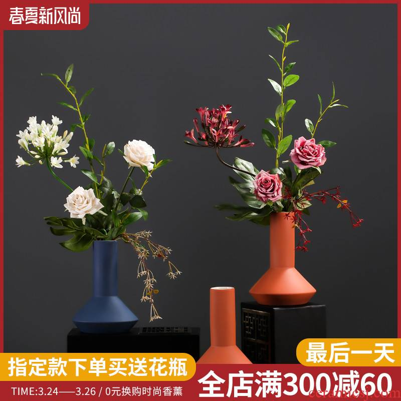 False bouquets of flowers sitting room simulation table decoration furnishing articles in household decoration silk flowers, ceramic vases, flower art suits for