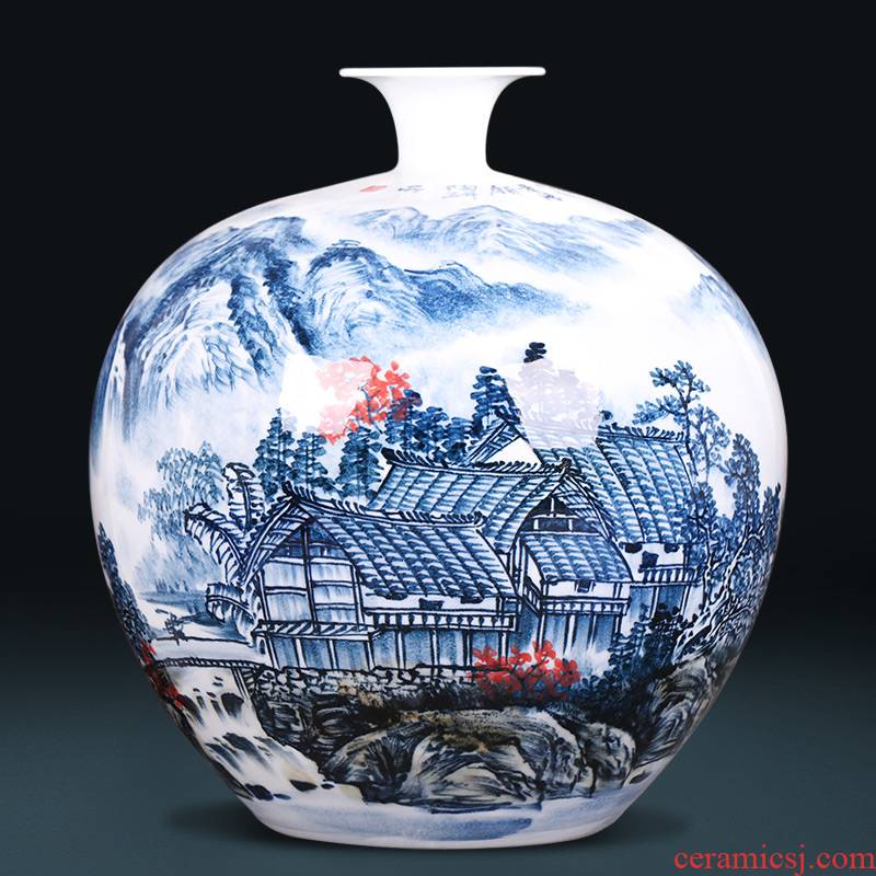 Jingdezhen ceramics hand - made landscape painting new Chinese antique vase large sitting room home furnishing articles