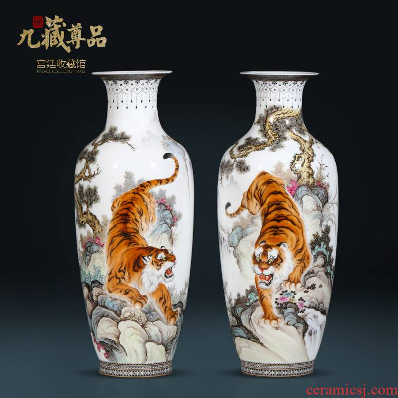 Jingdezhen ceramics hand - made powder enamel vase tiger Chinese style living room porch TV ark, flower adornment furnishing articles