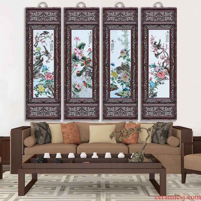 Jingdezhen porcelain plate painting birds and flowers of spring, summer, autumn and winter four screen adornment home sitting room hangs a picture the study opening gifts