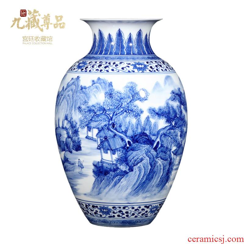 Jingdezhen ceramics thin foetus hand - made scenery blue and white porcelain vases, new Chinese style household porcelain sitting room adornment furnishing articles