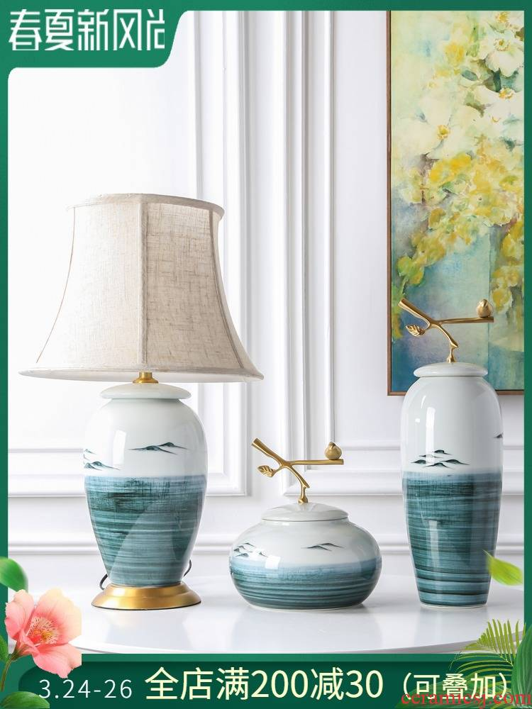 Jingdezhen ceramic vase furnishing articles wine of new Chinese style bedroom lamp ornaments between example, flower, flower decoration