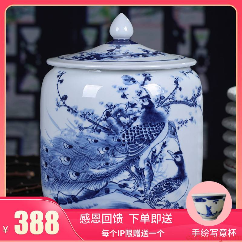 Jingdezhen ceramic hand - made porcelain tea pot seal pu 'er tea pot of tea cake big yards tea cake storage barrel
