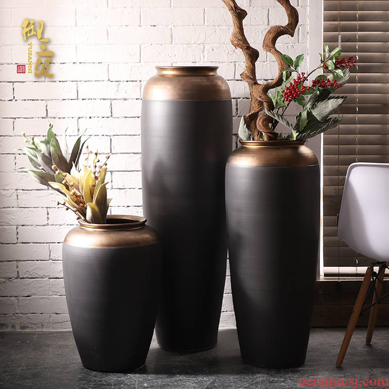 Jingdezhen ceramic big vase furnishing articles flower arrangement sitting room ground POTS to I and contracted Europe type black gold ornament