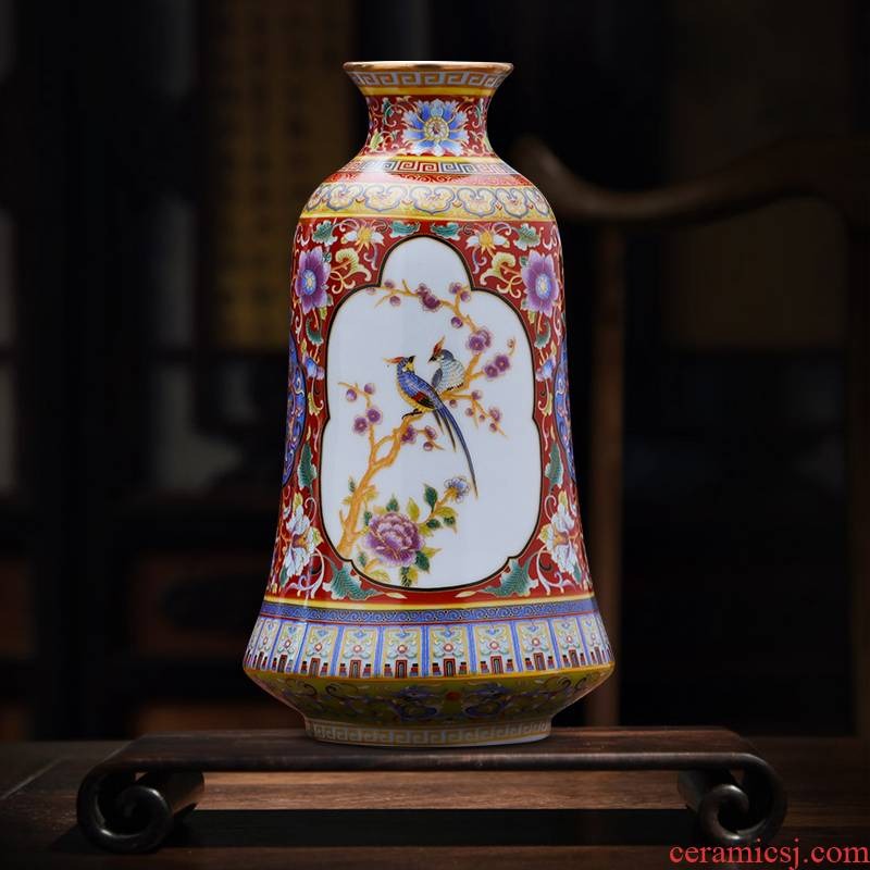 Jingdezhen ceramic vase furnishing articles archaize colored enamel porcelain vases flower arranging creative home sitting room adornment