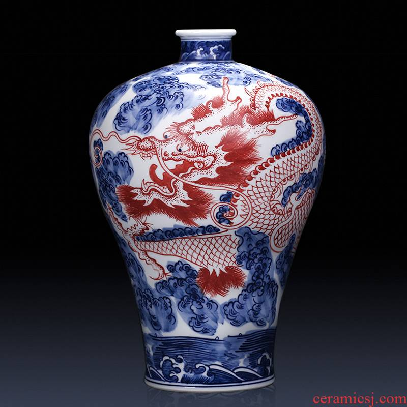 Jingdezhen ceramics imitation qianlong hand - made day in antique Chinese blue and white porcelain vase dragon furnishing articles in the living room