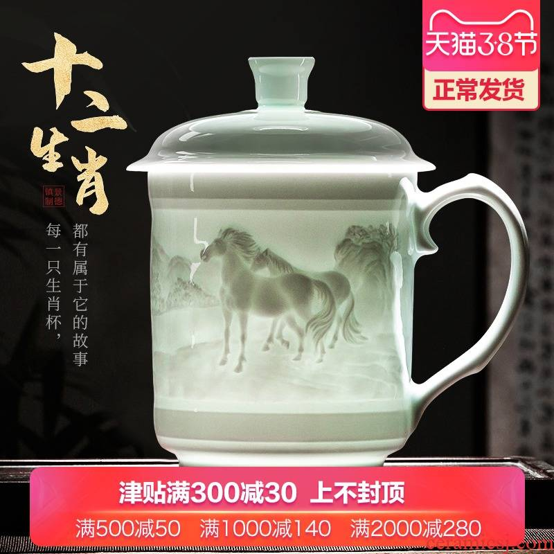 Jingdezhen ceramics hand - carved zodiac cup with office people with cover of large capacity cup to ultimately responds cup