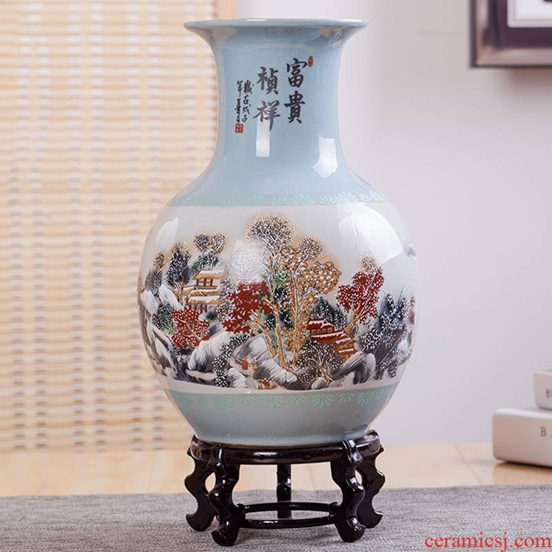 Jingdezhen ceramic vases, flower implement sitting room decorations household modern Chinese style living room crafts lucky bamboo furnishing articles