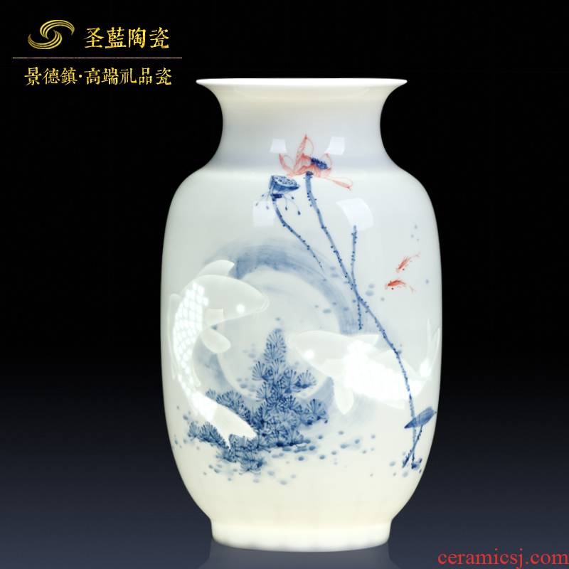 Jingdezhen ceramics famous master hand made blue and white porcelain vases, flower arranging new Chinese style household adornment furnishing articles sitting room