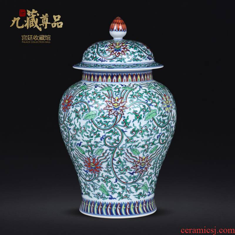 About Nine hid honour product antique hand - made vases colors branch lotus the general pot of jingdezhen ceramics high grade decorative furnishing articles
