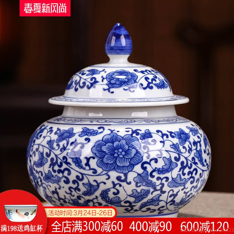 Jingdezhen blue and white porcelain tea pot home with cover puer tea pot 1 catty seal storage tank decorative ceramic furnishing articles