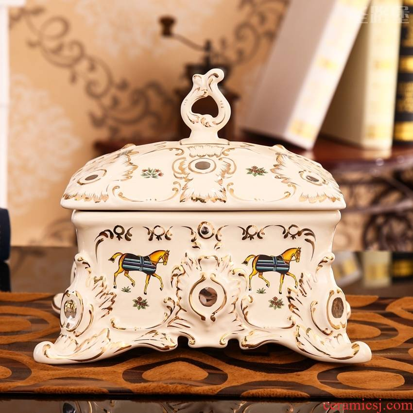 SAN road fort European candy box creative ceramic dried fruit wedding compote furnishing articles wedding gift package mail box
