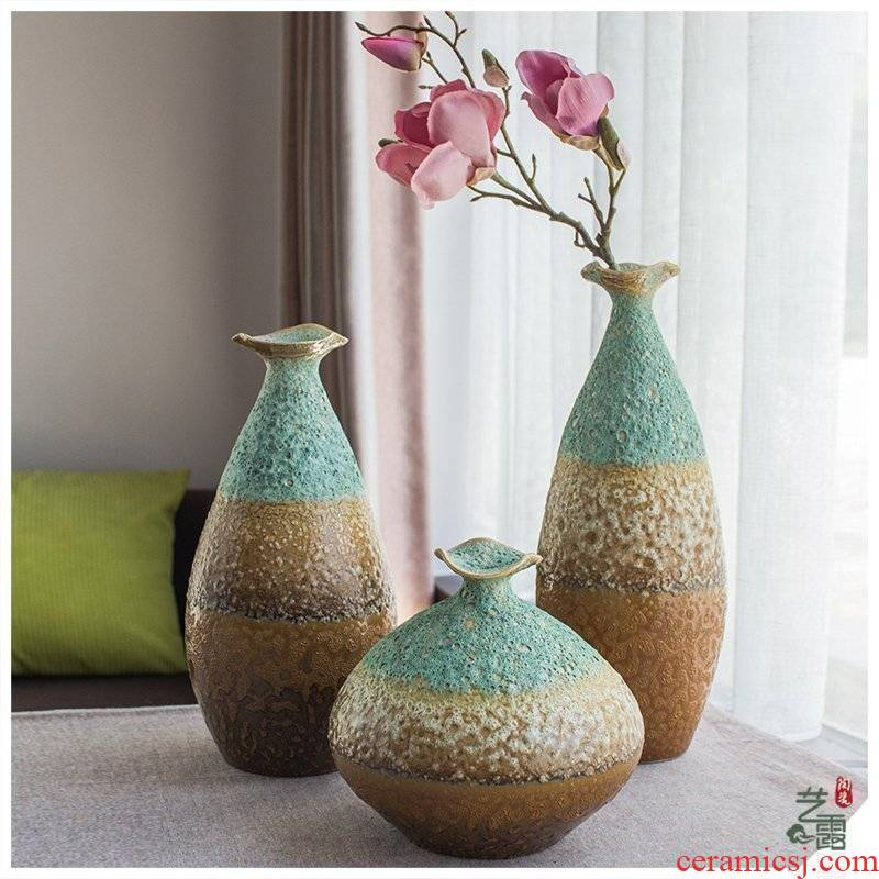 American southeast Asia vase three - piece jingdezhen ceramic vase household adornment furnishing articles hotel club house decoration