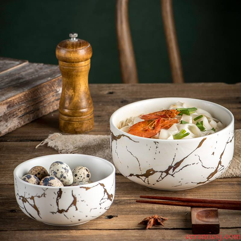 Nordic marble, ceramic bowl of soup bowl large household eat bowl creative contracted Europe type bowl dessert bowl dishes