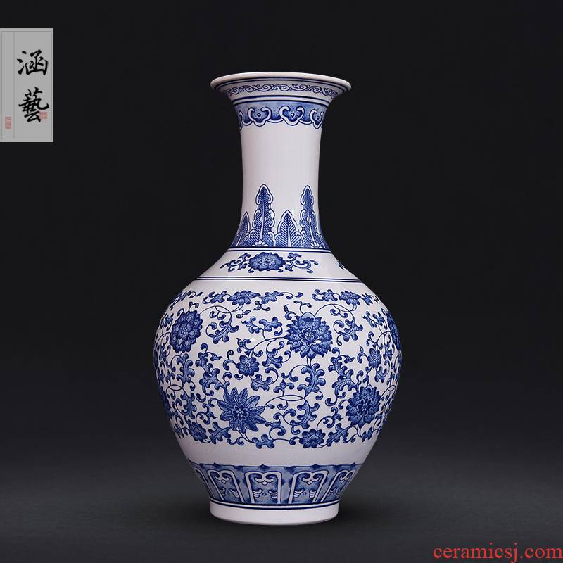 Put the lotus flower pattern design of blue and white porcelain of jingdezhen ceramics new Chinese style living room porch flower arrangement craft gift furnishing articles