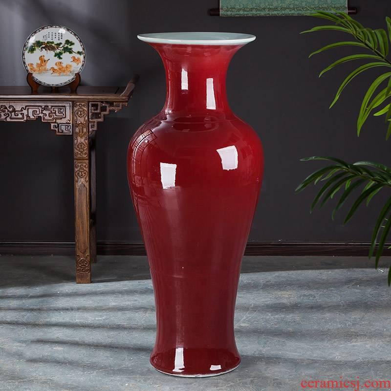 Jingdezhen ceramics ruby red tail landing big vase sitting room place large flower arrangement home decorative arts and crafts
