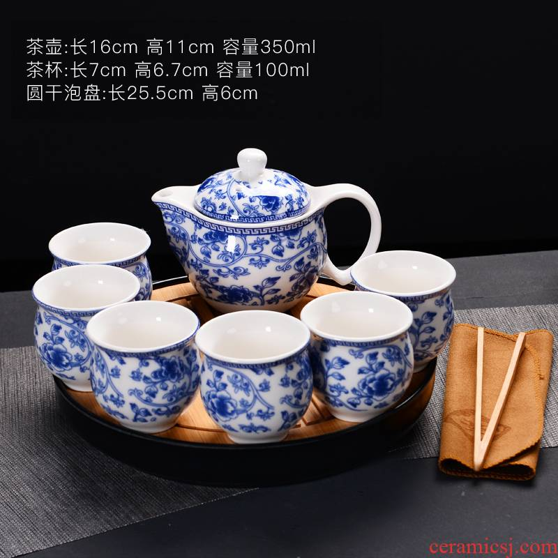 Tea set ceramic prevent hot double CPU kung fu Tea cup Chinese blue and white porcelain teapot suit household contracted