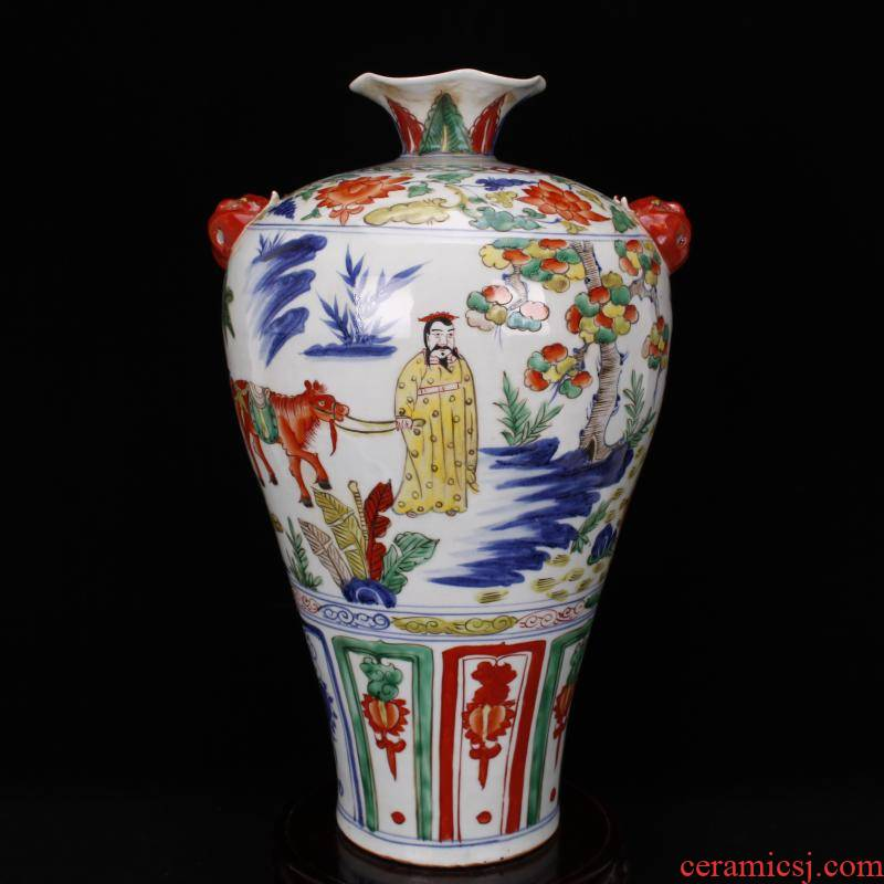 Jingdezhen RMB imitation antique curios colorful up after restoring ancient ways Han Xinhua mei bottle expressions using ceramic decoration old collection