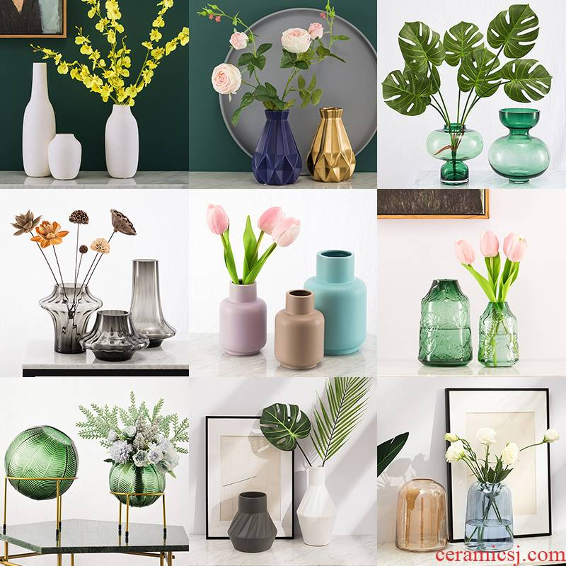 """""""Clearance"""" Nordic hydroponic transparent glass vase, flower arranging dried flowers home sitting room creative ceramic vases, furnishing articles"""