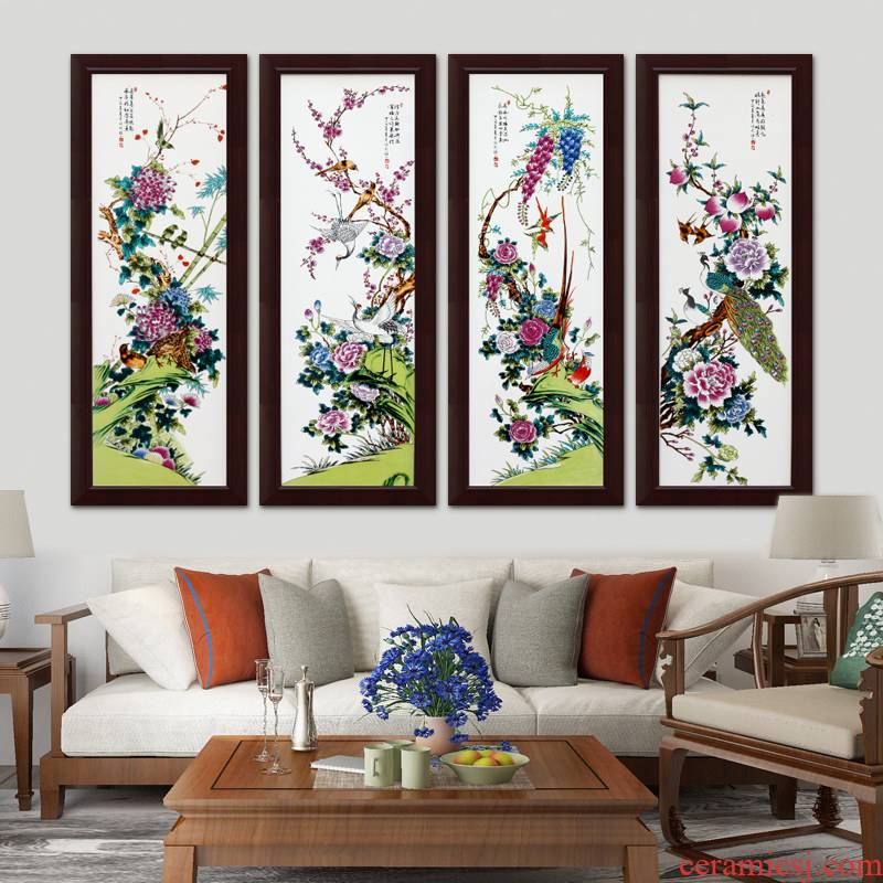 Jingdezhen porcelain plate painting I sitting room background wall four screen vertical version hangs a picture staircase corridor wall murals