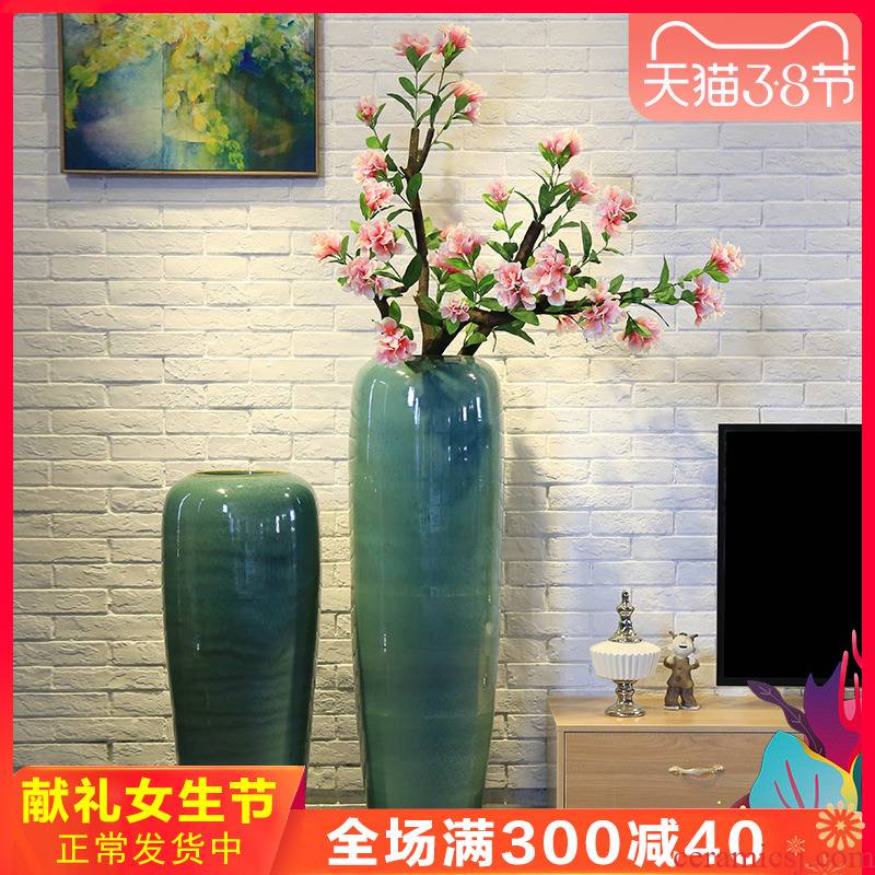 New Chinese style club house sitting room of large vase jingdezhen ceramic flower, flower restaurant adornment is placed between the example