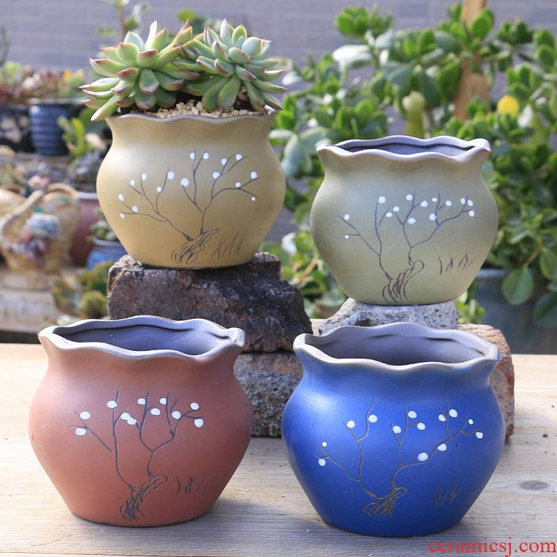 Most meat ceramic coarse pottery flowerpot breathable creative move of large diameter fleshy plant POTS, dedicated special offer a clearance
