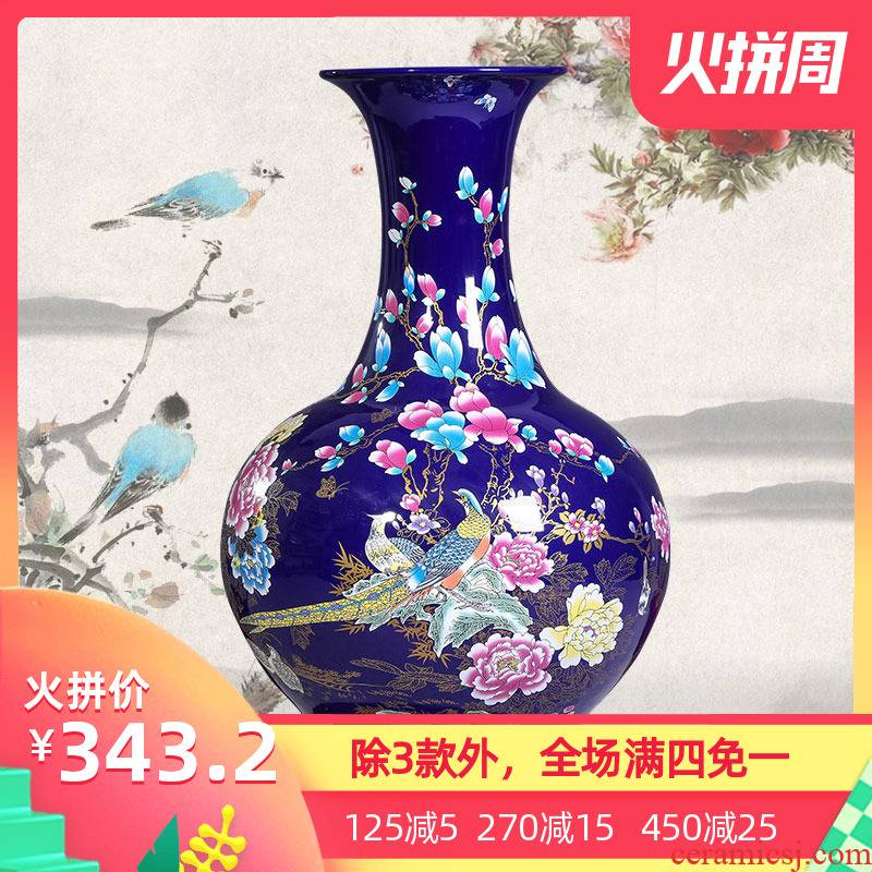 Jingdezhen ceramic vase of large Chinese style household adornment furnishing articles zen furnishing articles creative home sitting room
