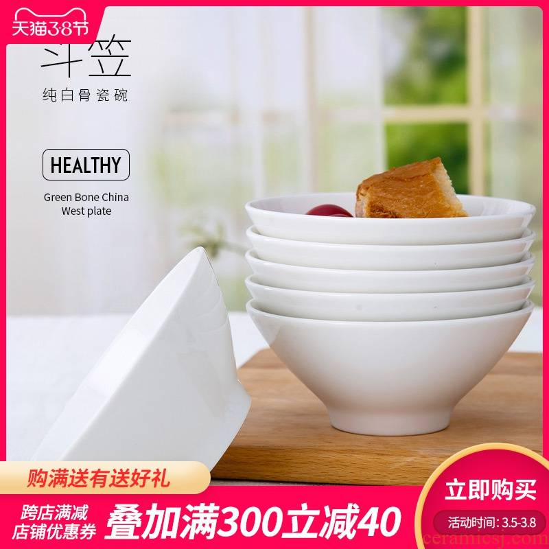 Is rhyme of jingdezhen ceramic bowl household new hand - made ipads China contracted white hat to use Chinese eat bread and butter