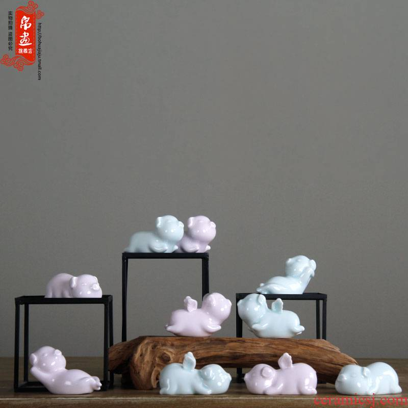 "Ceramic pig flies home furnishing articles furnishing articles eye pink/shadow cyan ceramics ""place adorn article"