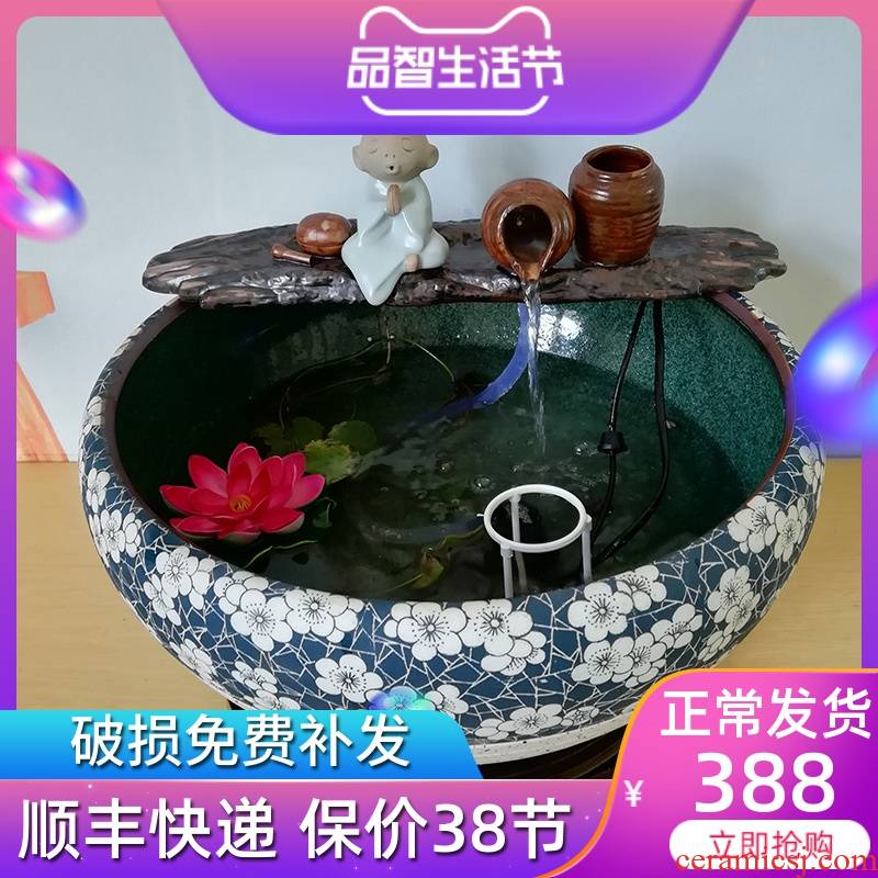 Jingdezhen ceramic water furnishing articles aquarium office sitting room humidifier sami feng shui plutus zen fountain