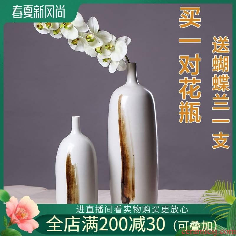 Modern European ceramic art ceramic flower flower implement Chinese style furnishing articles furnishing articles home sitting room ground surface decorative accessories