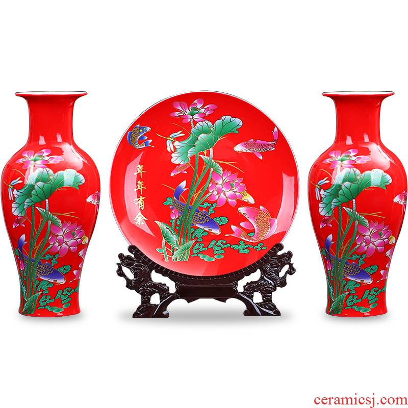 Jingdezhen ceramics China red every year for wining a three - piece vases, hang dish sitting room home furnishing articles