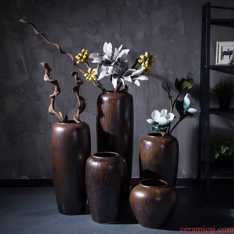Retro nostalgia jingdezhen ceramics industry of large wind flower pot pot sitting room big dry flower vases, decorative furnishing articles