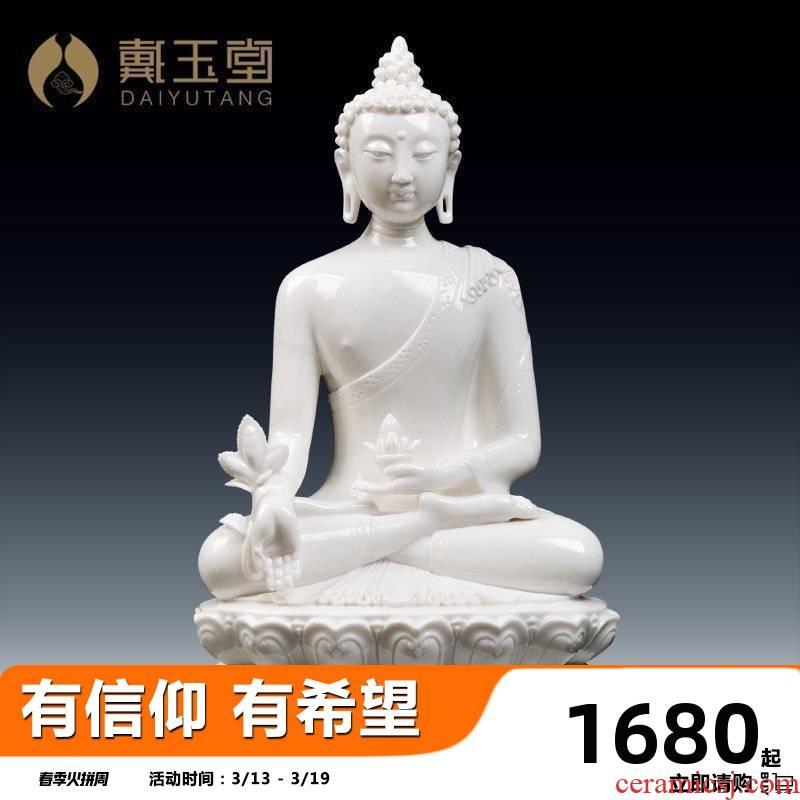 Yutang dai ceramic its handicraft dehua porcelain carving Chinese style living room desktop furnishing articles/medicine the guru Buddha D44-34