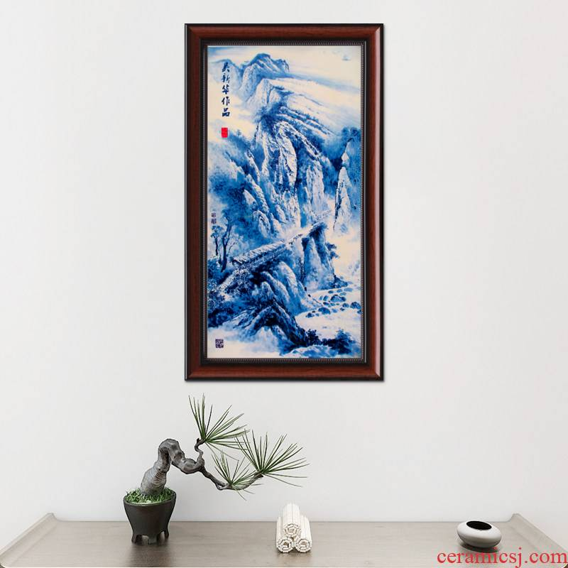 Adornment of jingdezhen blue and white porcelain porcelain plate painting the living room sofa background mural painting in the hotel corridor