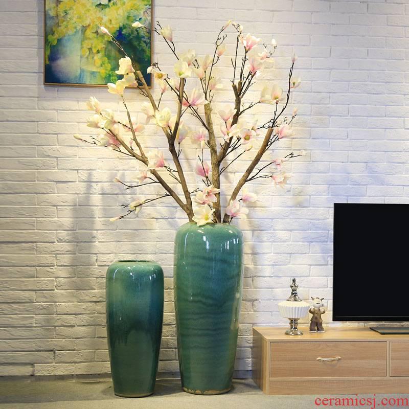 Ceramic floor sitting room hotel villa large vase flower receptacle furnishing articles hall device between example simulation flower arranging flowers