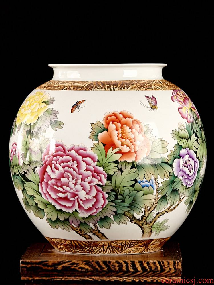 Jingdezhen ceramics by hand draw pastel peony vases, flower arranging big pot - bellied as cans Chinese style furnishing articles, the sitting room